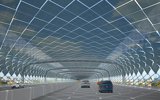 Tunnel solaire pour capturer les particules fines